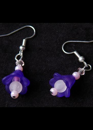 Picture of Delicate Flower Purple Floral Earrings