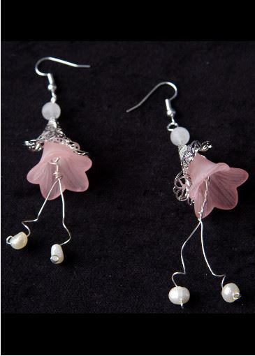Picture of Belle of the Ball Pink Floral Earrings