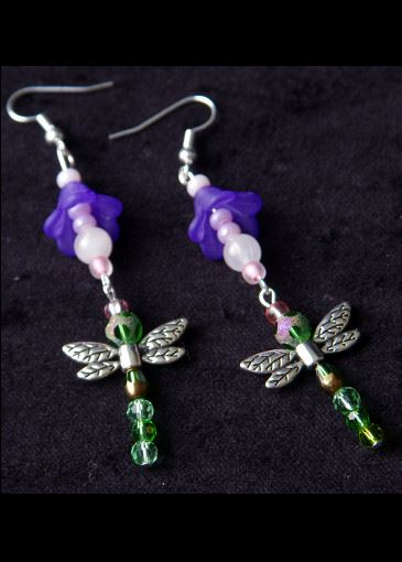 Picture of Dancing Dragonfly Floral Earrings