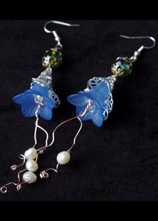 Picture of Belle of the Ball Blue Floral Earrings