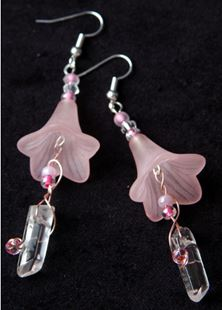 Picture of Quartz Crystal Pink Flower Earrings