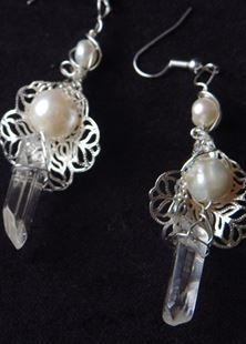Picture of Quartz Crystal Silver Flower Earrings