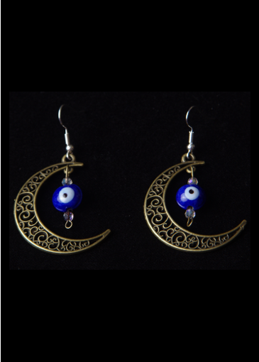 Picture of Heavenly Protection Moon Earrings