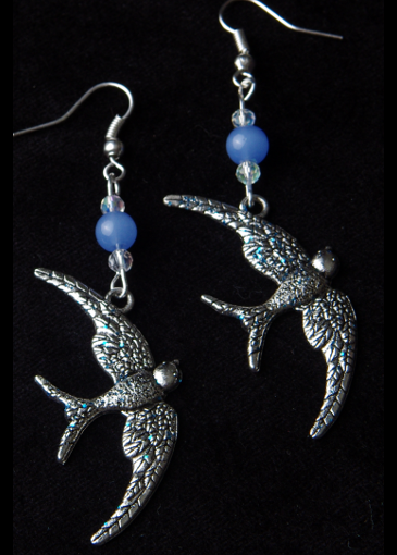 Picture of Learning to Fly Earrings Blue Chalcedony