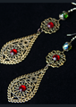Picture of Shoulder Duster Filigree Ruby & Emerald Crystal Earrings