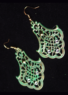 Picture of Antique Verde Green Gold Leaf Filigree Earrings