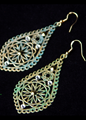 Picture of Gold Leaf Verde Green Filigree Earrings
