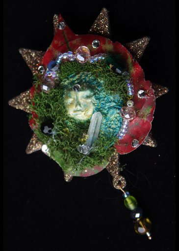 Picture of Yule Fae with Quartz Crystal Brooch
